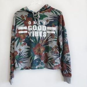 Good Vibes Only floral grey sweatshirt size L